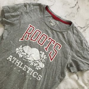 Roots red, grey and white logo tee